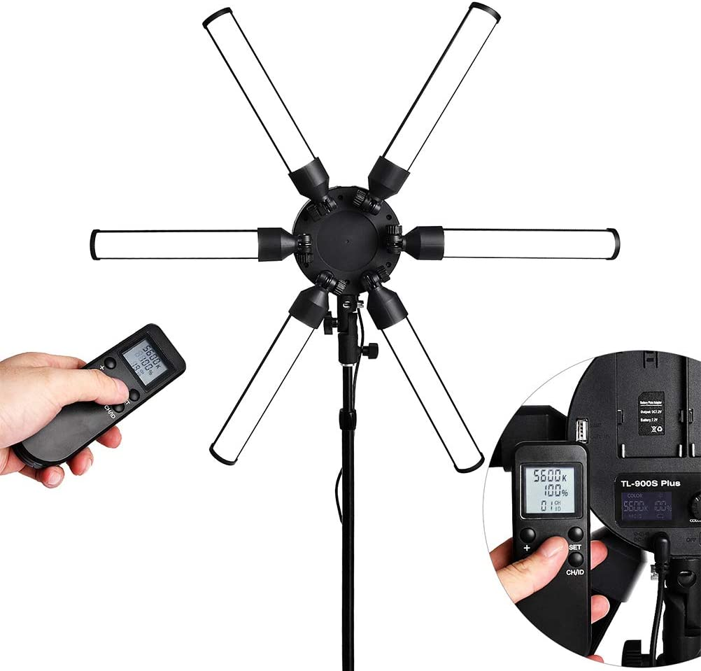 Ring light LED 3 Mode Light Stepless Dimming 180/° Rotation Lamp Head with Remote Control for Selfie Video YouTube