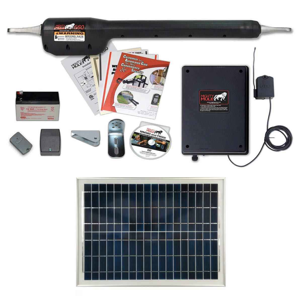 Mighty Mule MM560 Solar Package - Heavy Duty Single Gate Opener w/ 20 Watt Solar Panel