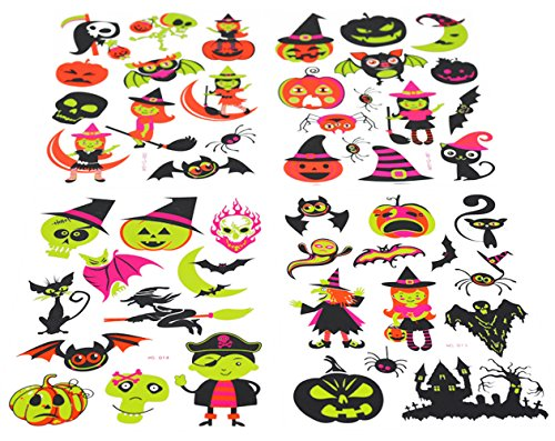 Halloween Tattoos for Kids Glow in the Dark 48 Temporary Tattoos Stickers (Best Halloween Stores Nyc)