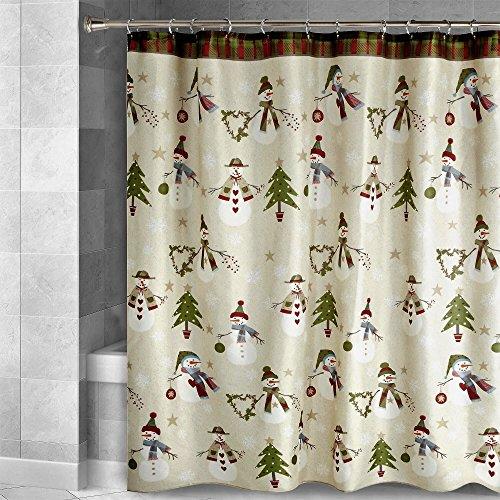 Avanti Linens Country Snowman Fabric Shower Curtain Trees Heart Wreaths Christmas Bathroom Decoration