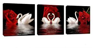 3 Panels Beautiful Romantic Swans Art Print on Canvas Red Rose Flowers Wall Art Decor Stretched Frames for Bedroom Bathroom Ready to Hang