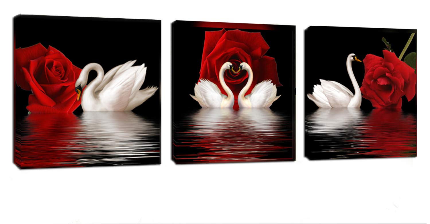 Amoy Art -3 Panels Beautiful Romantic Swans Art Print on Canvas Red Rose Flowers Wall Art Decor Stretched Frames for Bedroom Bathroom Ready to Hang
