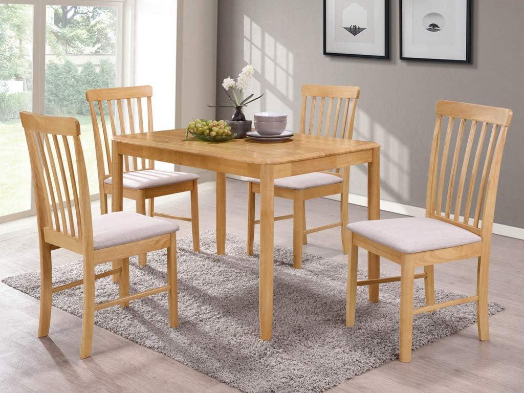 The One Kyla Oak Finish Rectangular Dining Table Solid Hardwood Modern Dining Table With 4 Cushioned Seats Mounted Chairs Light Oak Finish Dining Room Furniture Amazon De Kuche Haushalt