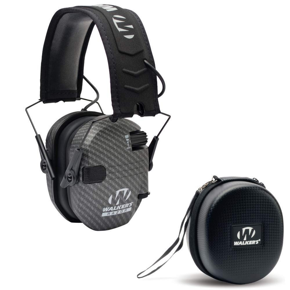 Walkers Razor Slim Electronic Shooting Hearing Protection Muff (Sound Amplification and Suppression) with Protective Case, Carbon by Walkers