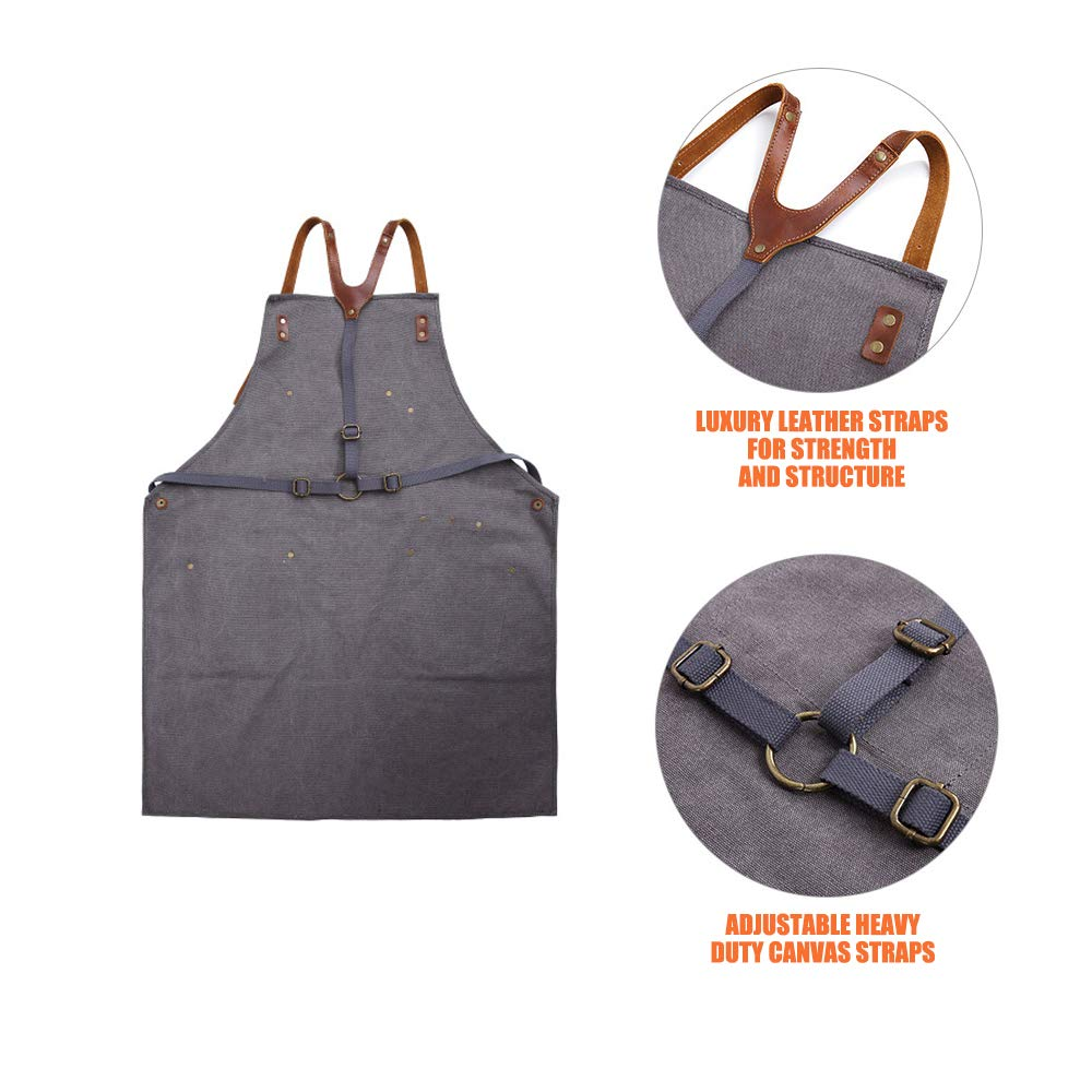Waxed Canvas Tool Apron with Leather Pockets Heavy Duty Work Shop ...