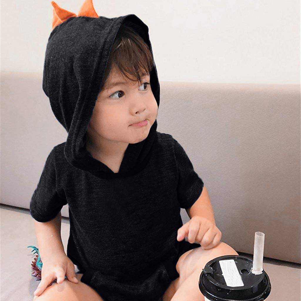 Baby Romper Unisex,SMALLE◕‿◕ Baby Super Cute Short Sleeve Solid Dinosaur Hooded Jumpsuit Romper Clothes