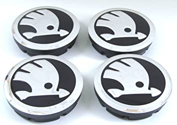 4 tapas para llantas Skoda nuevo logotipo 56 mm, tapacubos, tapacubos decorativo: Amazon.es: Coche y moto
