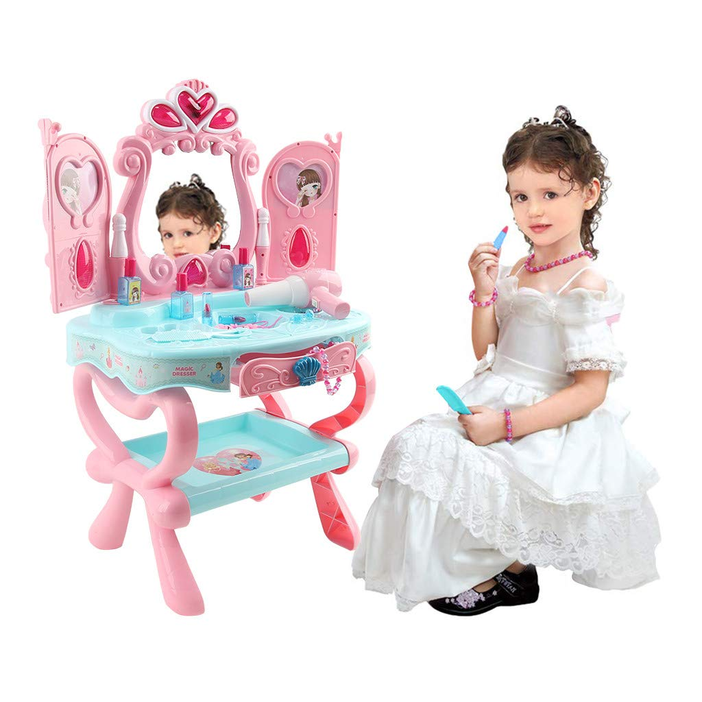 Kaniem Gifts Kids Vanity Toys,Fantasy Beauty Dresser Table Pretend Play Set with Lights,Sounds,Jewelry Makeup Accessories for Girls (17.5''x12.5''x29'', D-Pink) by Kaniem