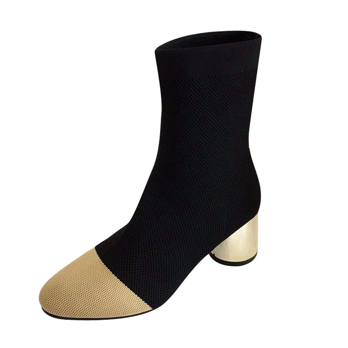noir Thirty-seven HBDLH Chaussures pour Femmes courte bottes with High 6Cm Rough Heel Elastic bottes Square Head Medium Tube bottes Match Couleurs Ma Dingxue.