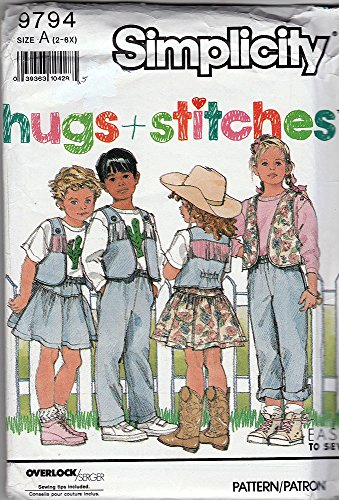 Homemaker Costume (Simplicity Sewing Pattern 9794 ©1990 UNISEX Child's Western Style Pants, Vest, Skirt, Sizes A 2-6X)