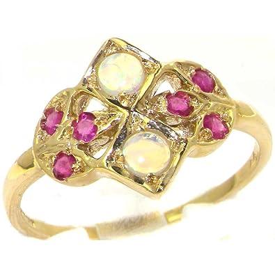 Luxury 9ct Yellow Gold Womens Opal & Sapphire Vintage Style Eternity Band Ring AVnTJOONm2