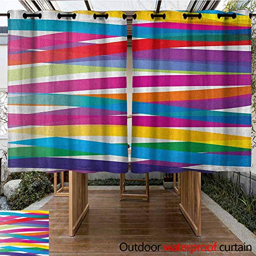 AndyTours Outdoor Curtain Panel for Patio,Colorful,Multicolor Ribbon Style Abstract Design Vivid Rainbow Pattern Artistic Expression,for Patio/Front Porch,K160C183 Multicolor