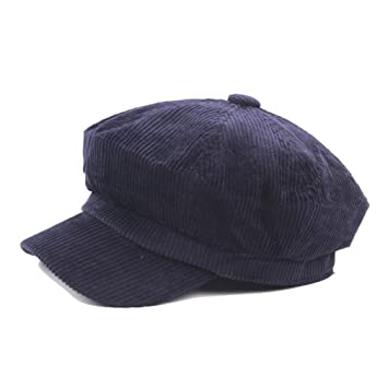 1a0395e5d08c7 Amazon.com   Newsboy Cap Beret Female Autumn Winter Hats For Women Men  Octagonal Cap Painter Hat Vintage England Gorras Boina Feminina navy blue    Beauty
