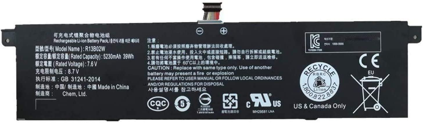 "New R13B01W R13B02W 7.6V 39Wh Laptop Battery Compatible with Xiaomi Mi Air 13.3"" Notebook"