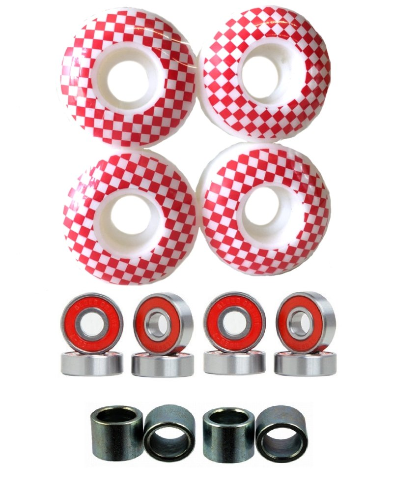 Everland 52mm Wheels w/Bearings & Spacers (White Red Checker) by Everland
