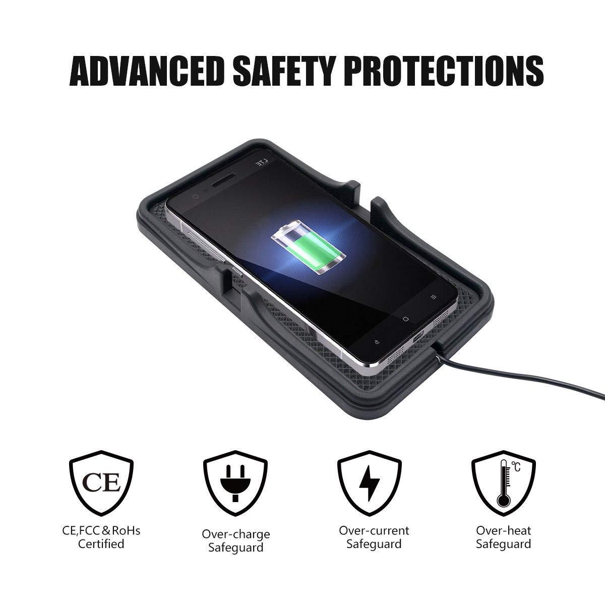 Samsung Galaxy S9 Antideslizante Base de Carga inal/ámbrica 2 en 1 para salpicadero de Coche con QI de Carga r/ápida de Silicona iPhone 8 Plus para iPhone X MASO iPhone 8 S8 S7e