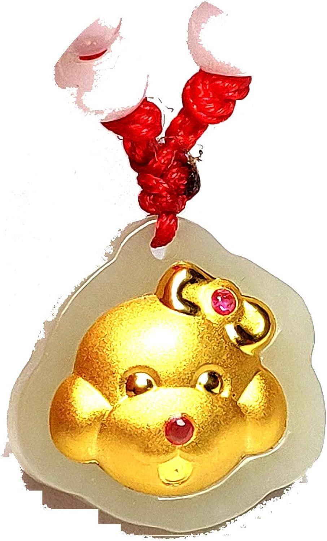 yigedan Collar de Cuerda de Cuero con Colgante de Gato de Jade Blanco Natural de Oro Amarillo de 24 Quilates