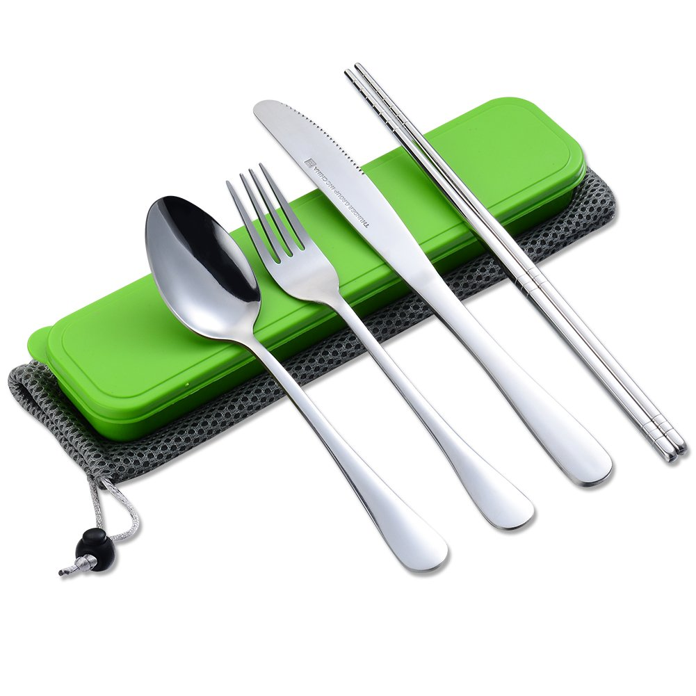 4 Pieces Flatware StainlessSteelFlatwareSet ChopstickSpoonForkknife Travel Camping Outdoor Office Portable with Case and Net Bag