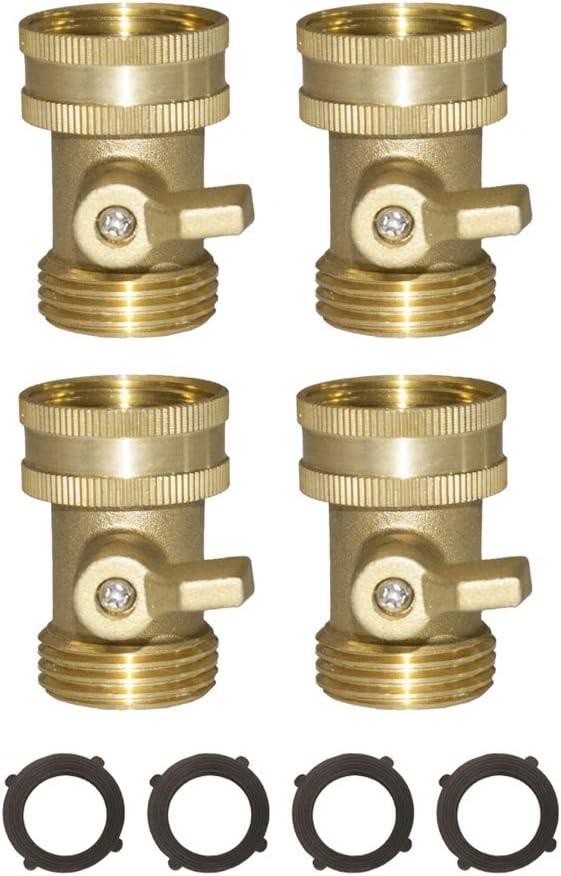 HQMPC Heavy Duty Brass Shut Off Valve Brass Water Hose Valve Hose On/Off Valve Garden Hose Connector 4Pcs