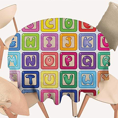longbuyer Kids Activity Tassel Tablecloth Colorful English Alphabet Blocks Childrens Cartoon Balloon Letter Design Round Tablecloth D 70