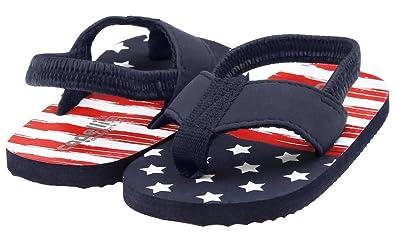 ef3cfad4d Capelli New York Faux Feather Lamy Thong Distress American Flag Print  Toddler Boys Flip Flops Navy