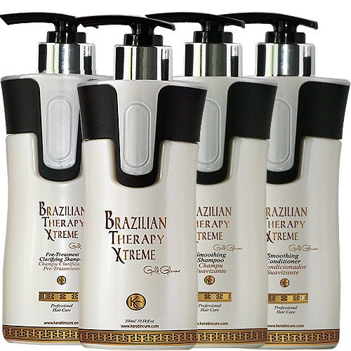 KERATIN CURE 0% Formaldehyde BRAZILIAN THERAPY XTREME BTX TREATMENT GOLD GLAMOUR 4 Piece Kit B O T O X (300ml / 10 fl oz) by Keratin Cure (Image #9)