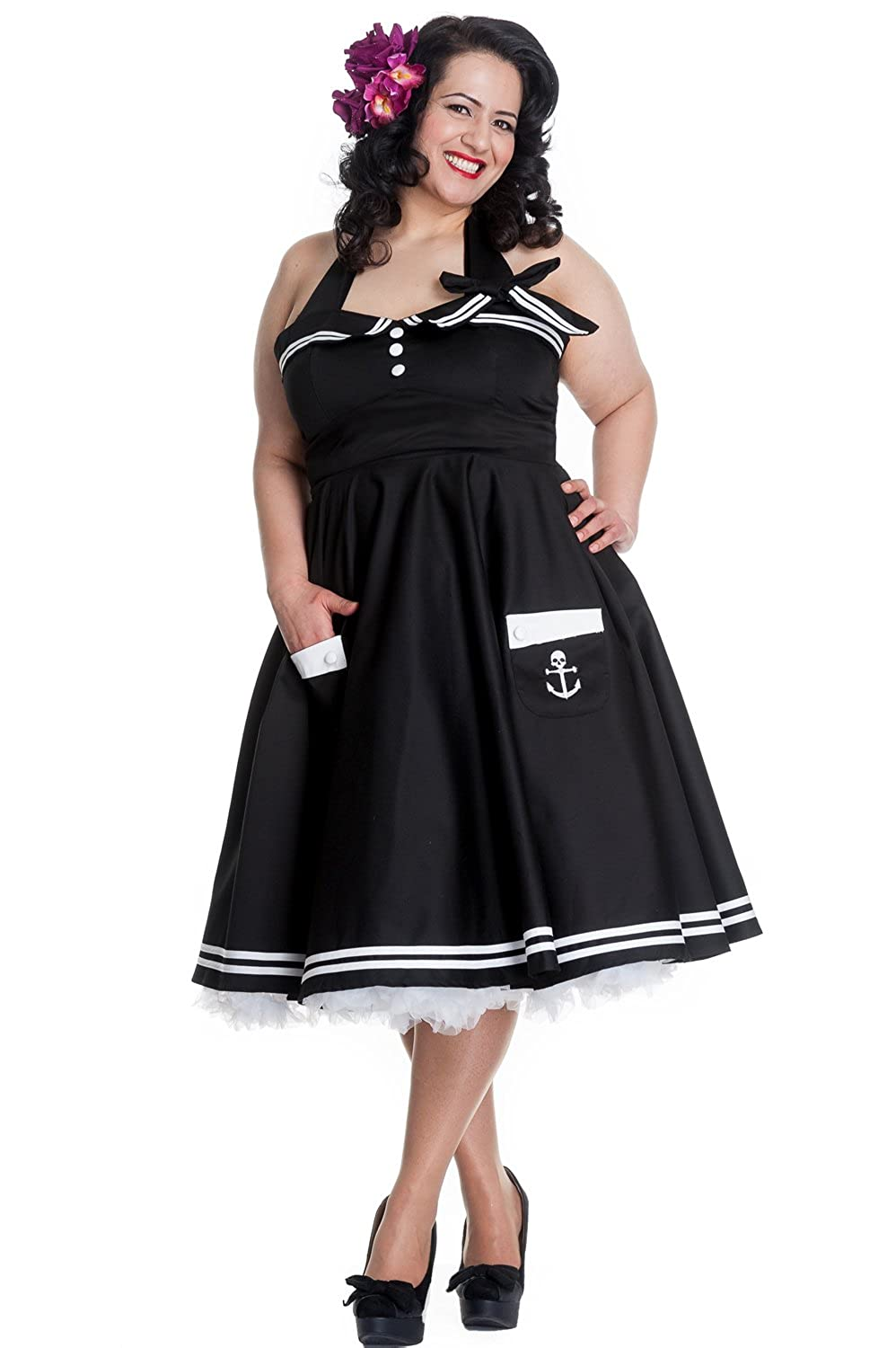 1950s Fashion History: Women's Clothing Hell Bunny Plus Size 60s Motley Pinup Vintage Halter Sailor Black Swing Dress $92.50 AT vintagedancer.com