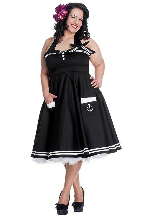 Hell Bunny Plus Size 60s Motley Pinup Vintage Halter Sailor Black