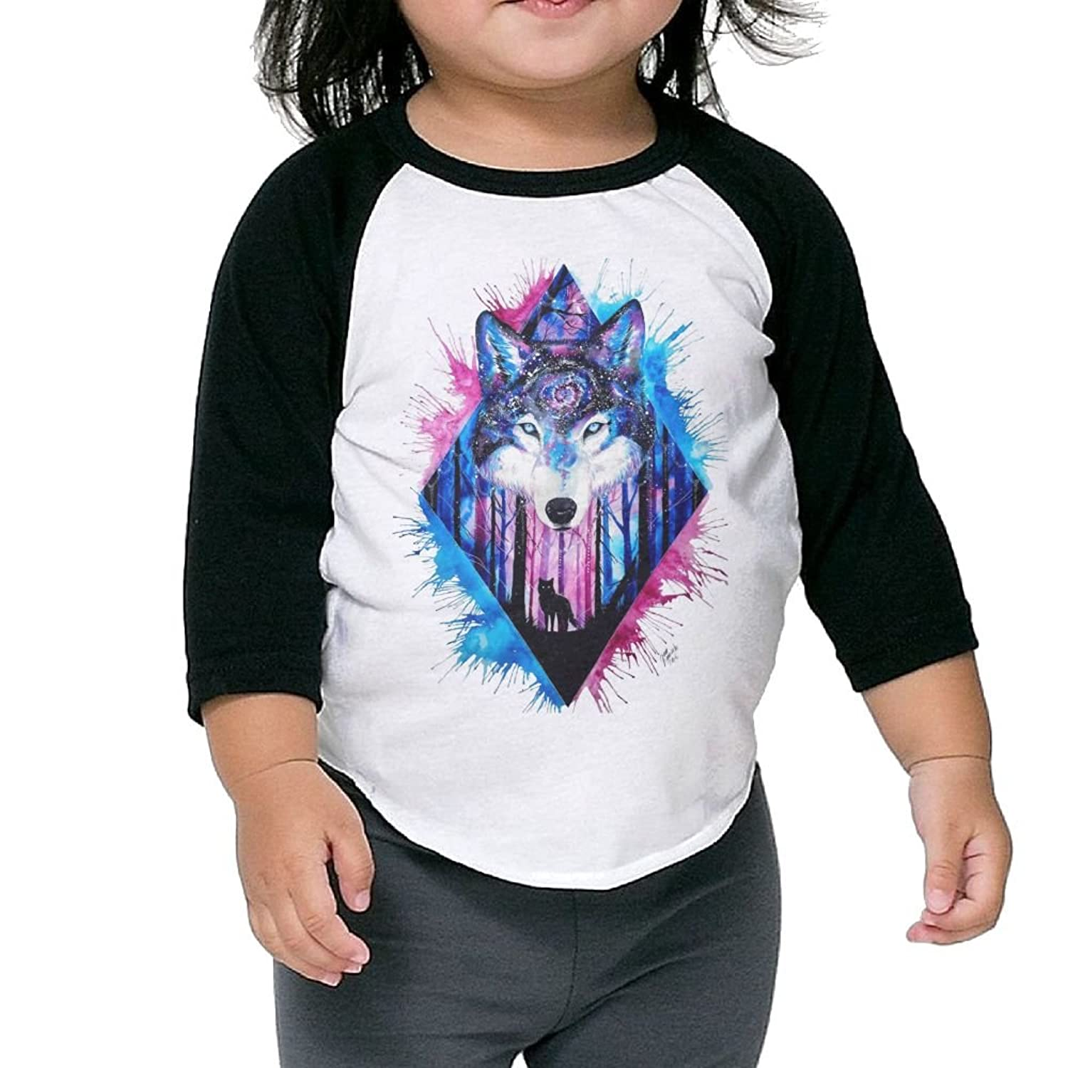 CHENLY Unisex Kid's Sleeves Soft Watercolor Wolf Cotton 3/4 Sleeves T-Shirt For children for sale