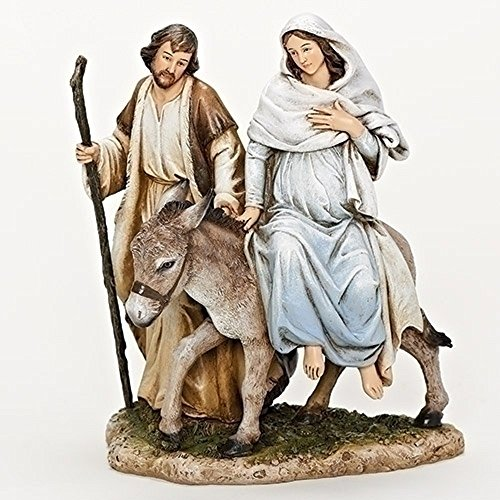Mary and Joseph La Posada Figure 8 inch Resin Stone Table Top Figurine Statue