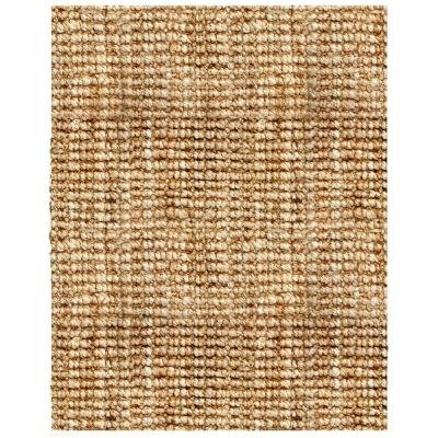Natural Boucle Woven Hand Spun Jute Area Rug w Tufted Ends (4 ft. x 6 ft.)