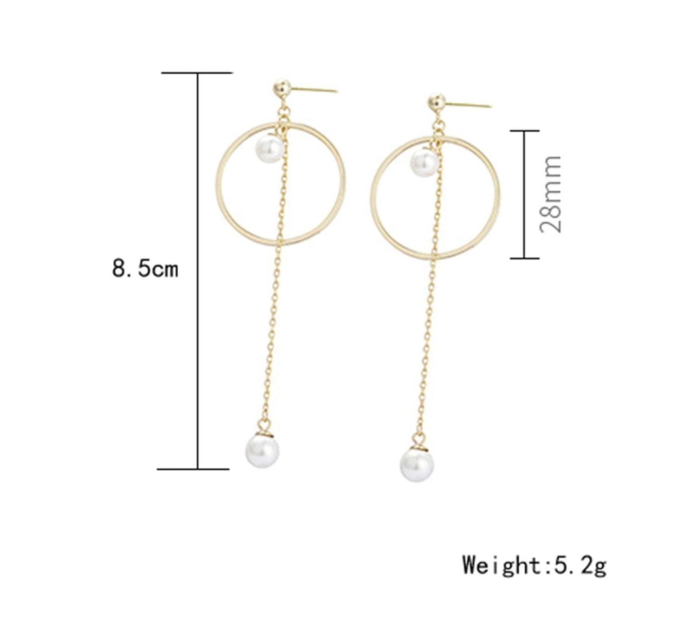 Epinki 925 Sterling Silver Women Stud Earrings Long Geometric Pearl Earrings Gold