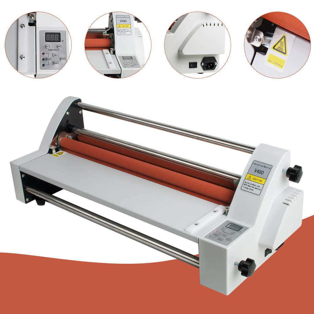 17''Laminating Machine Hot Cold Roll Laminator 450 mm Single&Dual Sided Electronic Temperature Control LED Display
