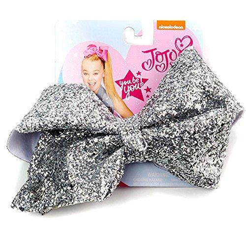 JoJo Siwa Signature Collection Hair Bow - Silver Sugar -