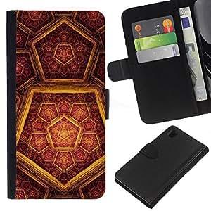 Sony Xperia Z1 / L39h / C6902 Modelo colorido cuero carpeta tirón caso cubierta piel Holster Funda protección - Pattern God Christ Religion Hexagon