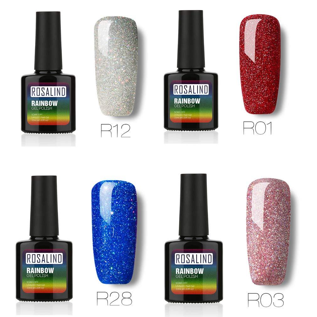 ROSALIND Conjunto de esmalte de uñas en gel para salón empapa de UV LED semipermanente laca vernis 4 unidades 10 ml: Amazon.es: Belleza