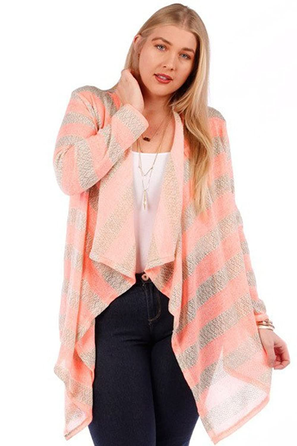 (Plus Size) Printed Women Plus Size Long Striped Solid Cardigan (MADE IN U.S.A)