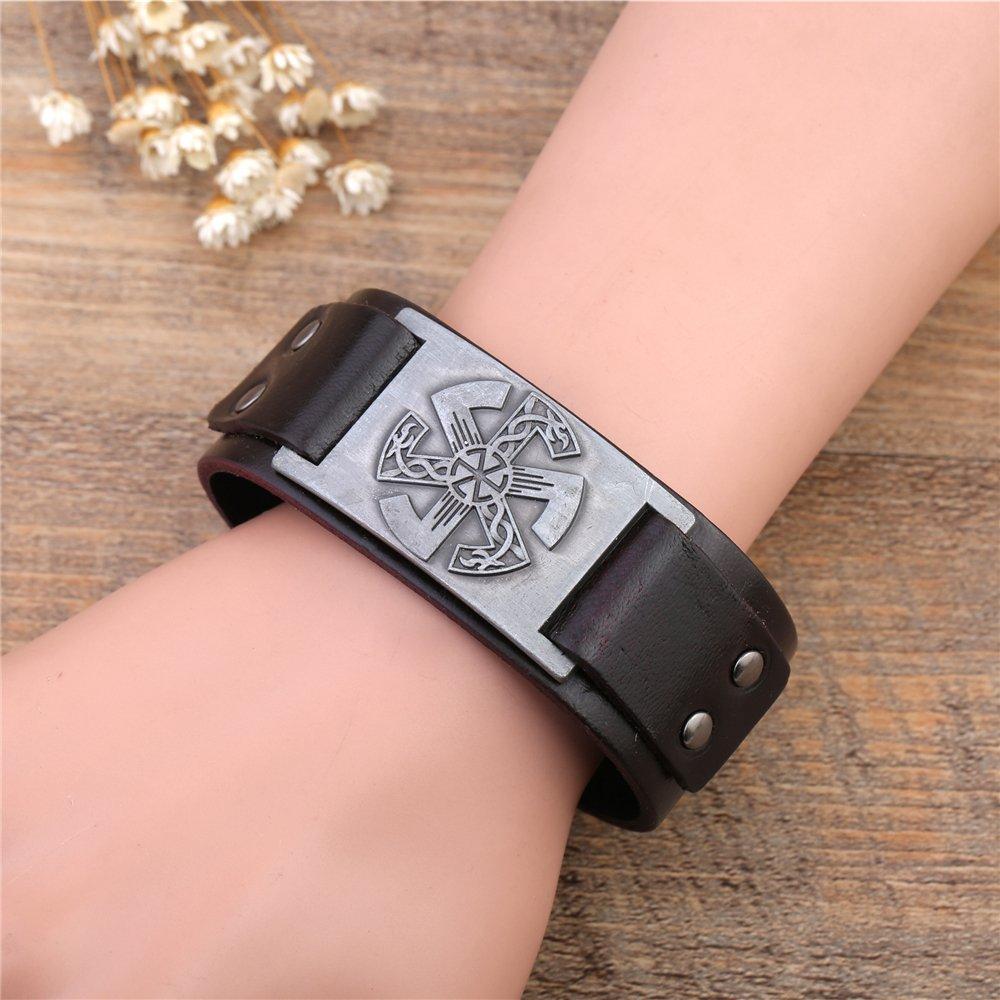 fishhook Wicca Vintage Salvic Sun Wheel Punk Sigil Amulet Rune Wristband Leather Bracelet