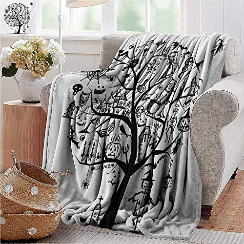 XavieraDoherty Faux Fur Throw Blanket,Halloween,Sketchy Spooky Tree with Spooky Design Objects and Wicked Witch Broom Abstract,Black White,Soft Fabric for Couch Sofa Easy Care 70