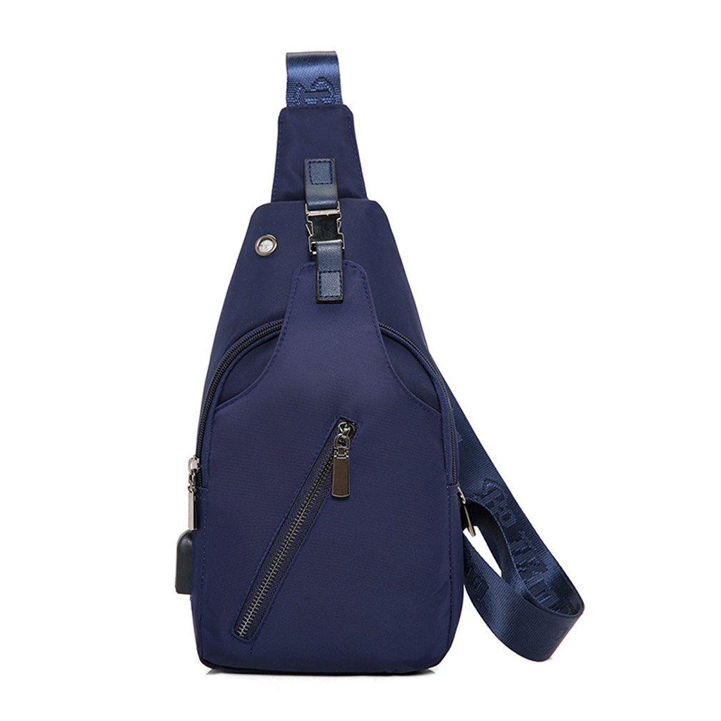 KIOESLKC Oxford Men Chest Pack Single Bag, USB Charging For Women Sling Shoulder Bag Back Pack Blue 17x6x30CM