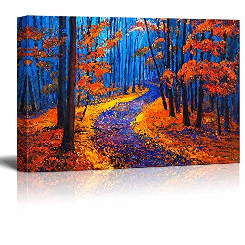 wall26 Canvas Prints Wall Art - Original Oil Painting Showing Beautiful Autumn Forest on Canvas - 32