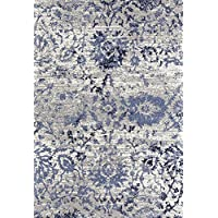 ADGO Ravenna Collection Modern Contemporary Floral Design Live Vivid Color Jute Backed Area Rugs Tall Pile Height Soft and Fluffy Indoor Floor Rug, Navy Blue Grey, 4
