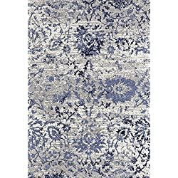 Adgo Ravenna Collection Modern Contemporary Elegant Stylish Floral Design Live Vivid Color Jute Backed Area Rugs Tall Pile Height Soft and Fluffy Indoor Floor Rug, Navy Blue Grey, 8' x 10'