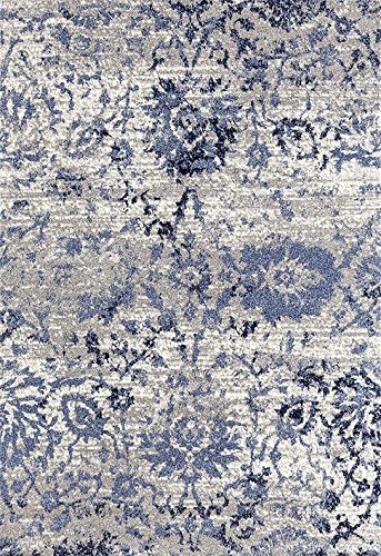 ADGO Ravenna Collection Modern Contemporary Floral Design Live Vivid Color Jute Backed Area Rugs Tall Pile Height Soft and Fluffy Indoor Floor Rug, Navy Blue Grey, 4 x 6