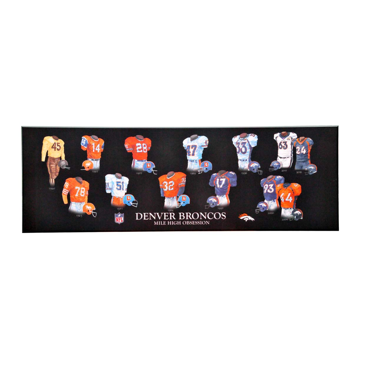 Black One Size Winning Streak NFL Denver Broncos Legacy Uniform Collection Plaque