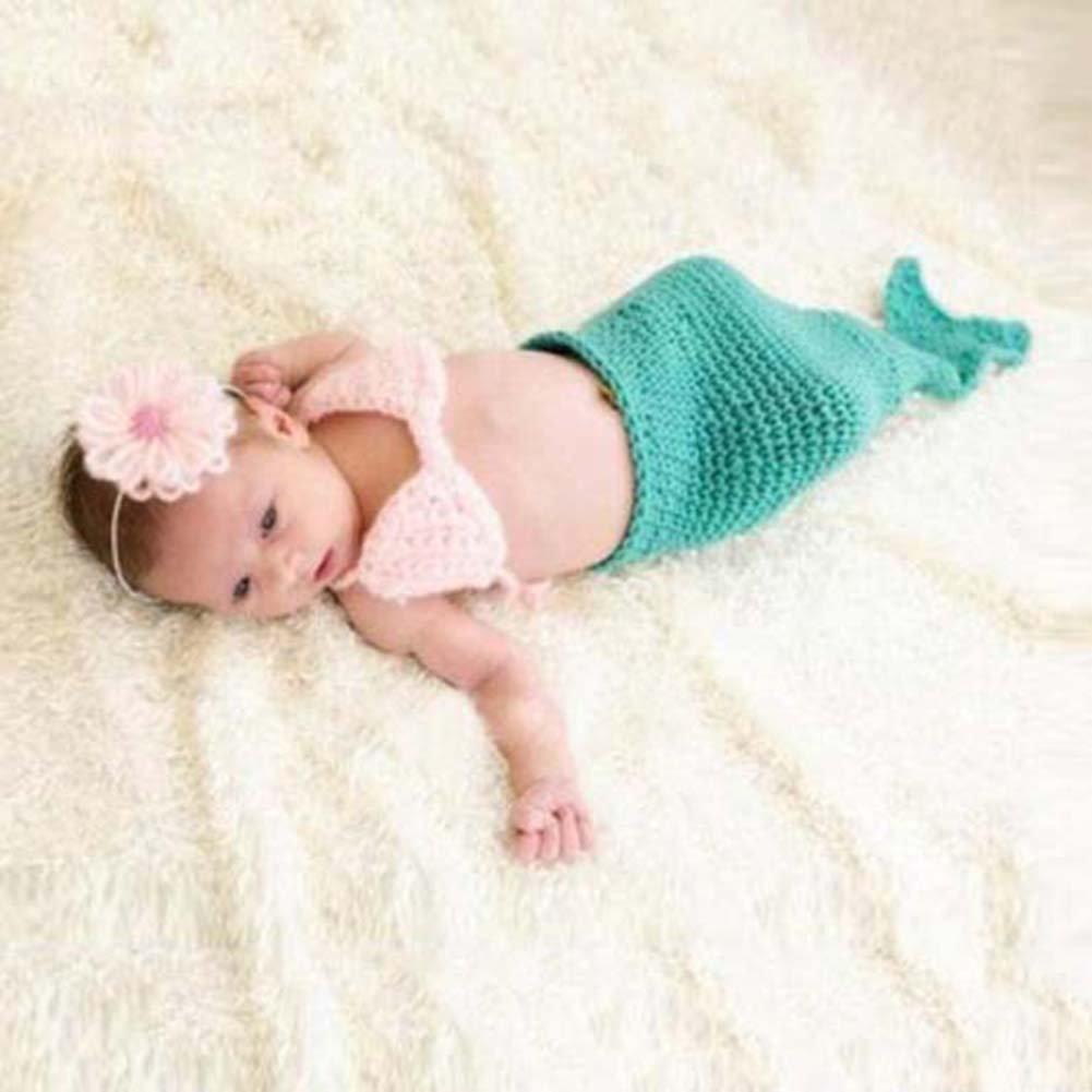 Deylay handgemachte H/äkelarbeit-Knit Baby-Fotografie Props Rot Meerjungfrau Kost/üm f/ür Baby