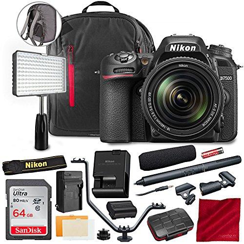 (Nikon D7500 20.9MP DSLR Camera AF-S DX NIKKOR 18-140mm f/3.5-5.6G ED VR Lens Kit W/Audio-Technica ATR-6550 Video Shotgun Microphone, 64GB, and Deluxe Video Bundle)