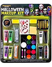 Spooktacular Creations 25 Pcs Halloween Family Makeup Kit, Glow in The Dark Halloween Costume Face Painting Makeup Kits, Easy On & Easy Off Makeup Set for Halloween Party Supplies