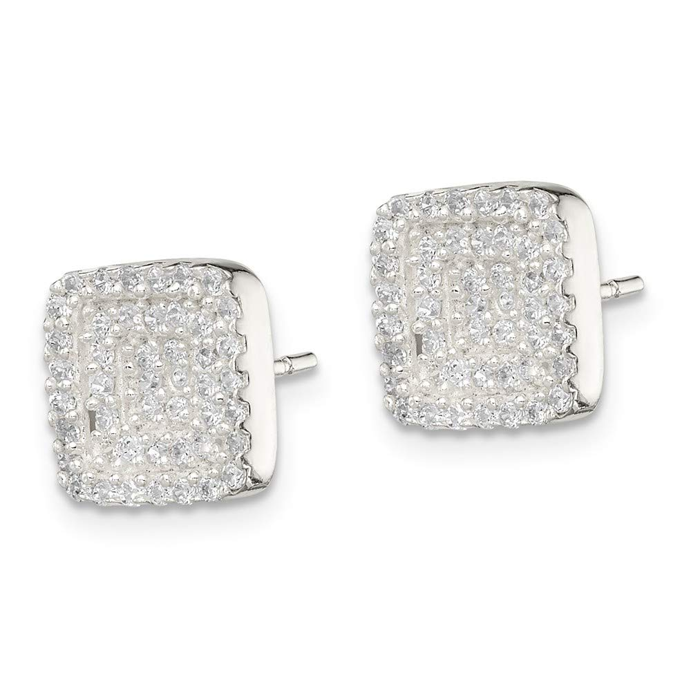FB Jewels Solid 925 Sterling Silver Square Cubic Zirconia CZ Post Earrings