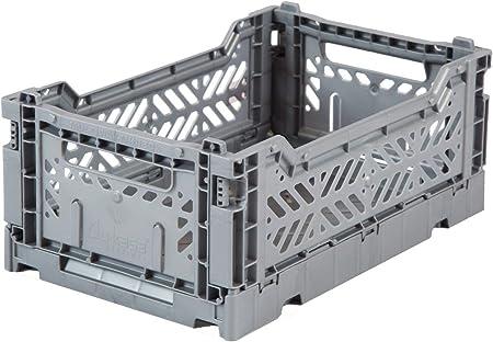 Caja plegable Ay-Kasa, caja plegable estable de plástico, apilable, mini (27x17x11cm), gris: Amazon.es: Hogar